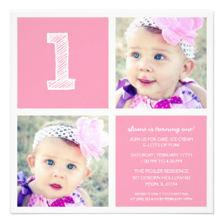 Pink Room for Squares First Birthday Party Photo Personalized Invites