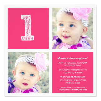 Pink Room for Squares First Birthday Party Photo Invitation