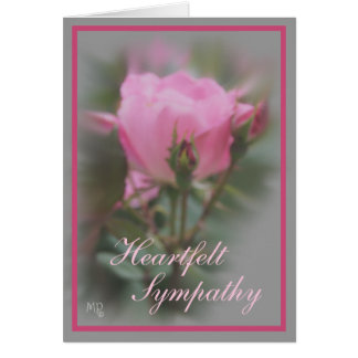 Pink Rose & 2 Buds on Gray -customize any occasion Card