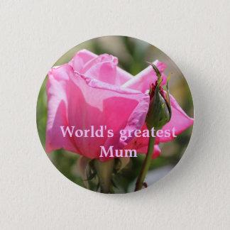 Pink Rose 6 Cm Round Badge