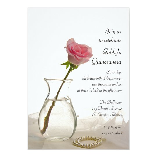 Pink Rose and Pearls Quinceanera Party Invitation