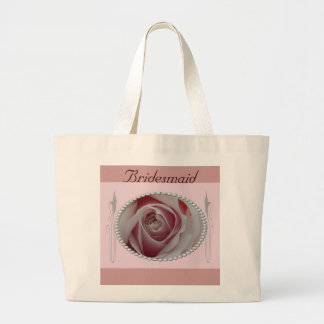 Pink Rose and Pearls Save the Date Design Jumbo Tote Bag