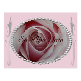 Pink Rose and Pearls Save the Date Design Postcard