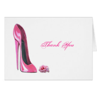 Pink Rose and Pink Stiletto Shoe Greeting Card