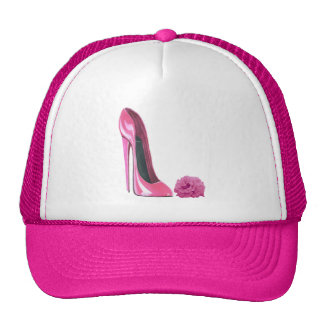 Pink Rose and Pink Stiletto Shoe Mesh Hats