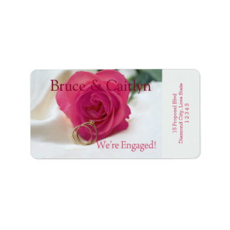 pink rose and rings engagement announcement address label