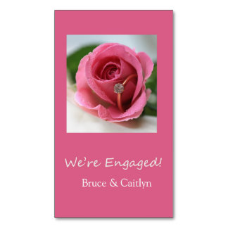 pink rose and rings engagement announcement magnetic business cards