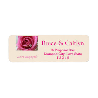 pink rose and rings engagement announcement return address label
