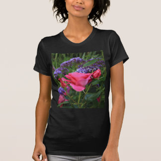 Pink rose and statice in garden T-Shirt