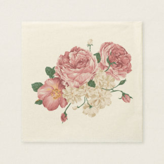 Pink Rose And White Floral Napkins Paper Napkin