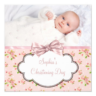 Pink Rose Baby Girl Photo Christening 13 Cm X 13 Cm Square Invitation Card