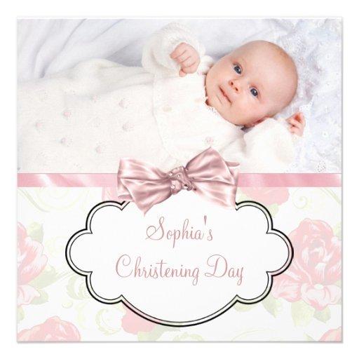 Pink Rose Baby Girl Photo Christening Custom Invite