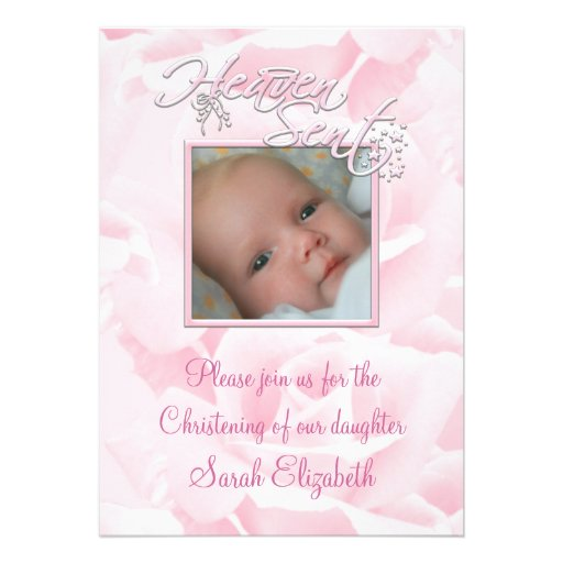 Pink Rose Baby Girl Photo Christening Personalized Invitations