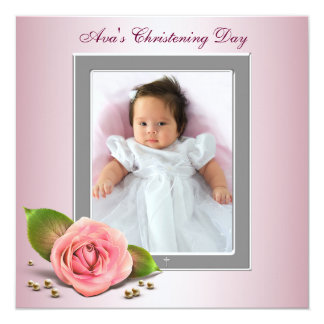 """Pink Rose Baby Girl Photo Christening 5.25"""" Square Invitation Card"""