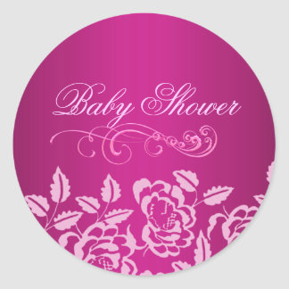 Pink Rose Baby Shower Envelope Sticker/seal