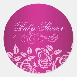 Pink Rose Baby Shower Envelope Sticker/seal Round Sticker