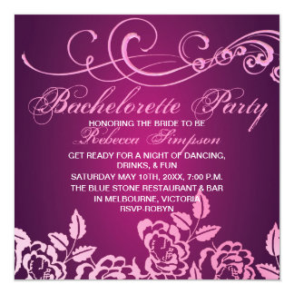 Pink Rose Bachelorette Party Invitation