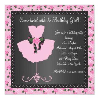 Pink Rose Ballerina Girls Ballerina Birthday Party Card