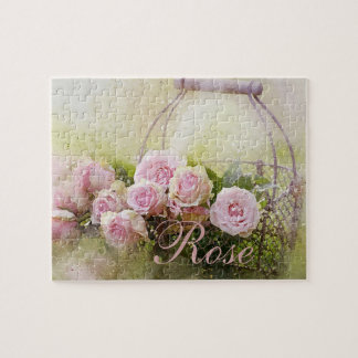Pink Rose Basket Jigsaw Puzzle