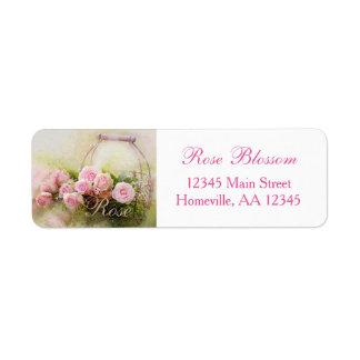 Pink Rose Basket Return Address Label
