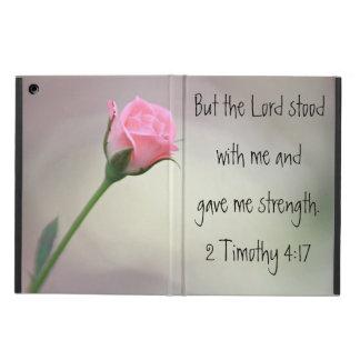 Pink rose Bible verse 2 Timothy 4:17 iPad air case