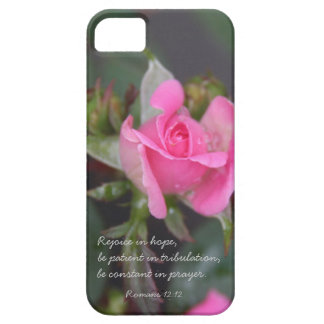 Pink Rose, Bible Verse about Hope, Romans 12:12 iPhone 5 Case