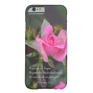 Pink Rose, Bible Verse about Hope, Romans 12: iPhone 6 Case
