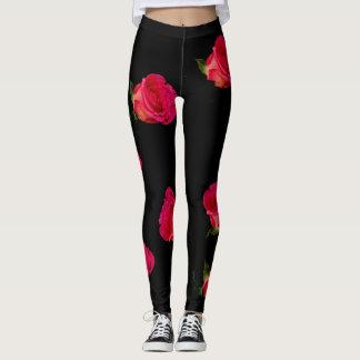 Pink Rose Black Floral Leggings