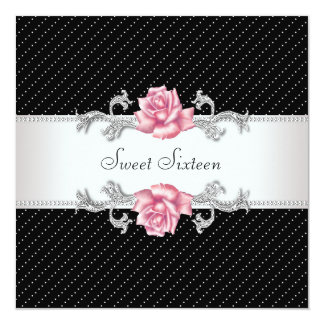 Pink Rose Black Sweet16 Birthday Party Card