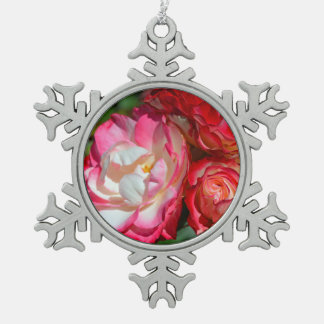 Pink rose blossoms pewter snowflake decoration