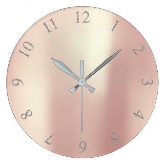 Pink Rose Blush Glitter Gray Silver US UK Numbers Large Clock