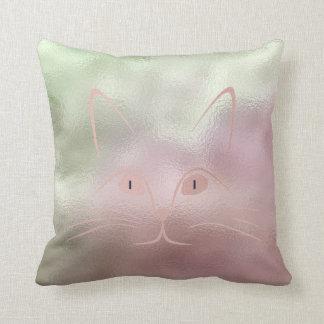Pink Rose Blush Mint Green Glass Cat Throw Pillow