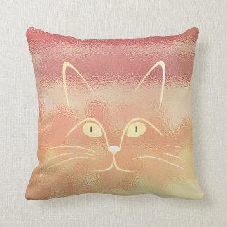 Pink Rose Blush Peach Gold Glass Cat Throw Pillow