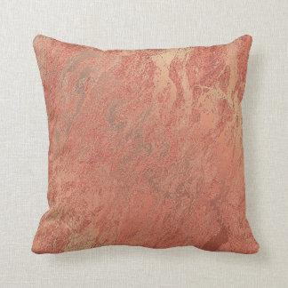 Pink Rose Blush Powder Copper Coral Marble Abstrac Throw Pillow