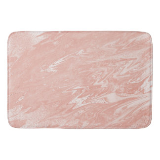 Pink Rose Blush Powder Marble Stone Metallic Bath Mat