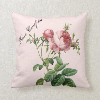 Pink Rose Botanical Throw Pillow