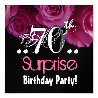 Pink Rose Bouquet 70th Surprise Birthday Metallic 13 Cm X 13 Cm Square Invitation Card