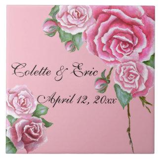 Pink Rose Bouquet Elegant Floral Wedding Coasters