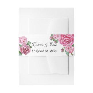 Pink Rose Bouquet Elegant Wedding Belly Bands Invitation Belly Band