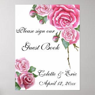 Pink Rose Bouquet Floral Guest Book Wedding Sign