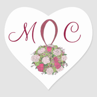 Pink Rose Bouquet Floral Wedding Initials Stickers
