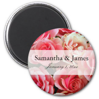Pink Rose Bouquet Personalized Wedding Magnet