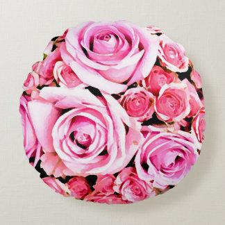 Pink rose bouquet round cushion