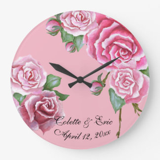 Pink Rose Bouquet Wall Clock Bridal Wedding Gift
