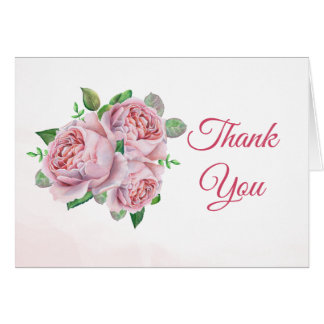 Pink Rose Bouquet Watercolor Thank You Card