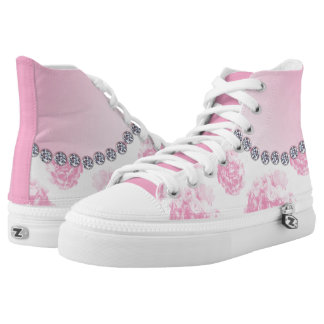 Pink Rose Bouquets and Diamonds High Tops