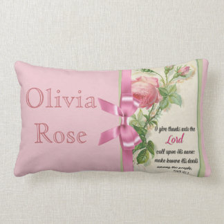 Pink Rose Bow  Scripture Psalm Lumbar Cushion