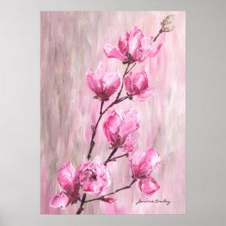 Pink Rose Branch Poster