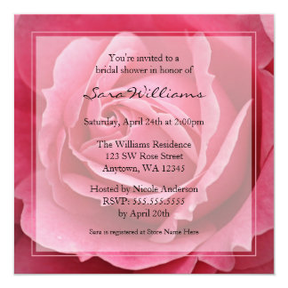 Pink Rose Bridal Shower Invitations