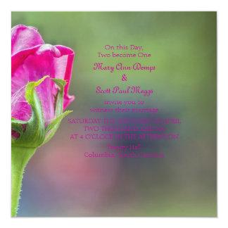 Pink rose bud 13 cm x 13 cm square invitation card